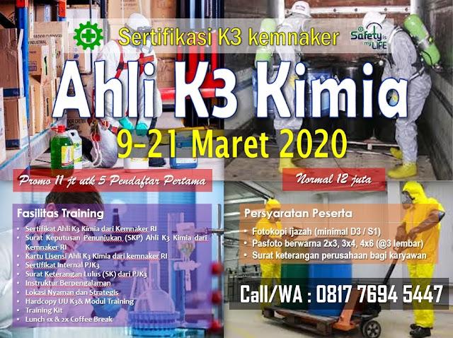Ahli K3 Kimia kemnaker tgl. 9-21 Maret 2020 di Jakarta