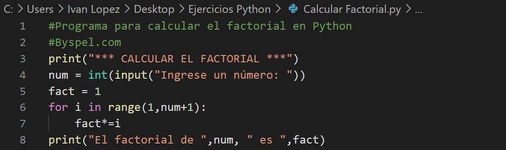 Calcular el factorial en Python