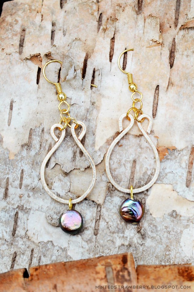 hammered earrings with pearl drop