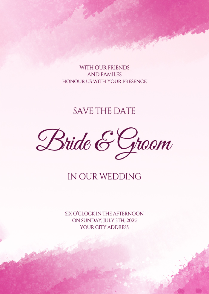Pink Exquisite Fashion Abstract Watercolor Wedding Invitation