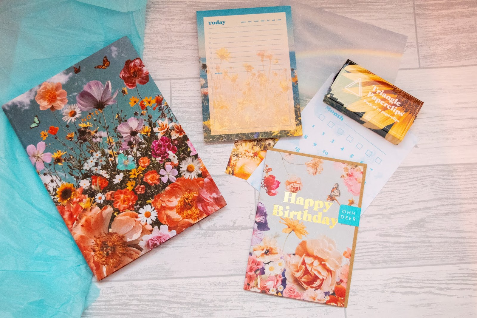 A view of the contents inside the January 2020 papergang box including a notebook, list pad, box of paperclips and paper stationery