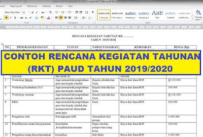 Contoh Rencana Kegiatan Tahunan Rkt Paud Tahun Pelajaran 2019 2020 Arsip Paud