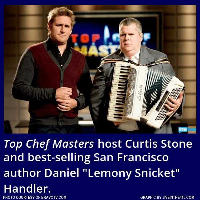"Bravo's ""Top Chef Masters"" Season 5 - Episode 8 ""Lucha Vavoom"" ketchup quickfire challenge judge Daniel Handler and host Curtis Stone."