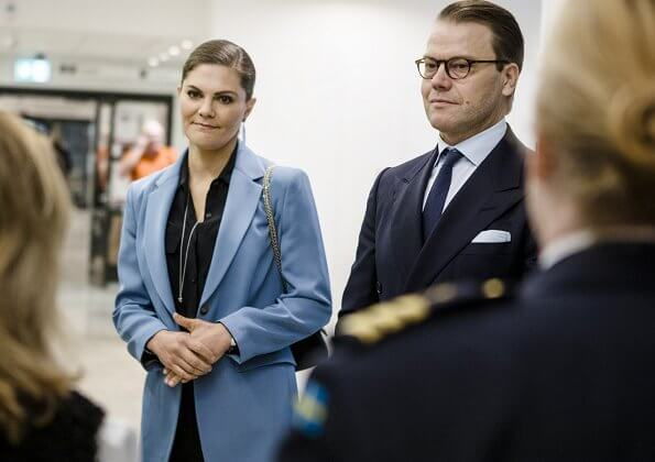 Crown Princess Victoria wore a narina blazer by Tiger of Sweden, summer feather earrings by Kreuger Jewellery,  levy ankle boots by Gianvito Rossi