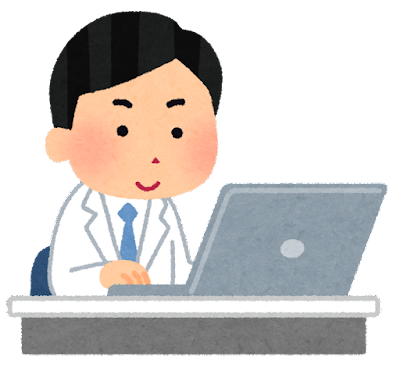 パソコンを使う作業員のイラスト(白衣の男性)