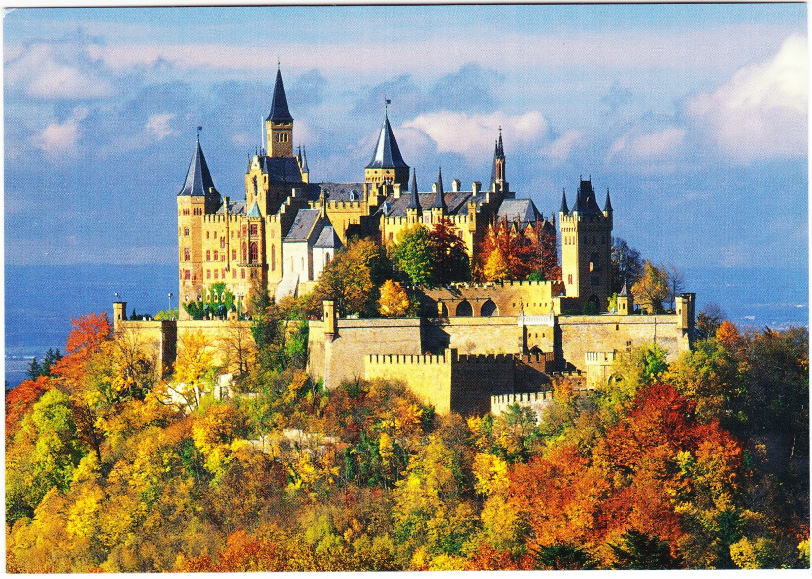 heres another postcard of hohenzollern taken from a distance as you can see it is an isolated and well protected stronghold sitting atop a 2800 foot