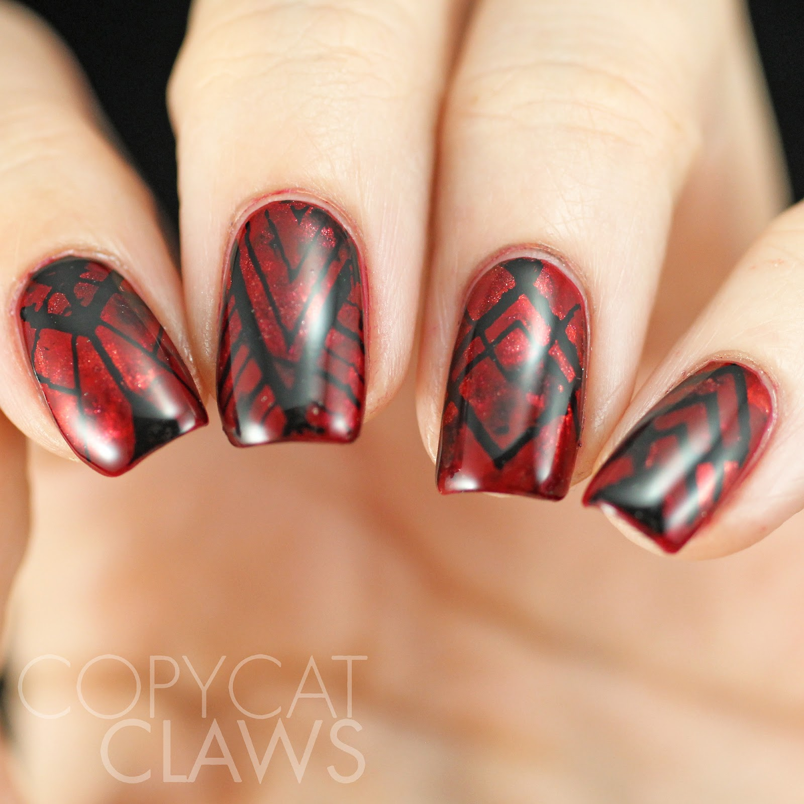 Copycat Claws: Sunday Stamping - Red and Black Nails