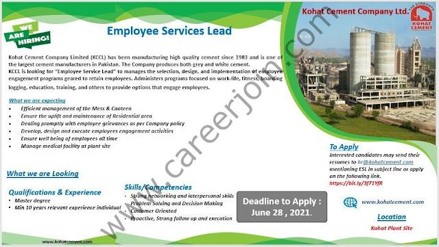Kohat Cement Company Ltd Jobs Employee Servicer Lead