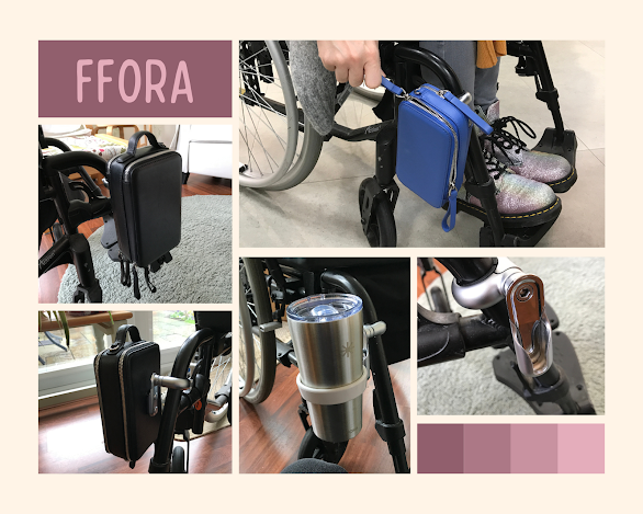Collage of photographs of my FFORA product on my wheelchair including the black Essentials Plus bag and another of this bag but showing it from the back attached to the attachment system, a photograph of the white cup holder with the silver tumbler in place, the silver attachment system and also me (sat in my wheelchair) bending down unzipping using the zip loops on my blue Essentials Bag