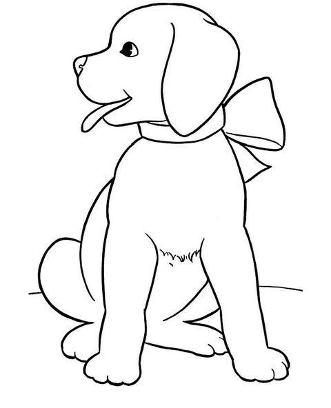 Hình tô màu con chó đeo nơ