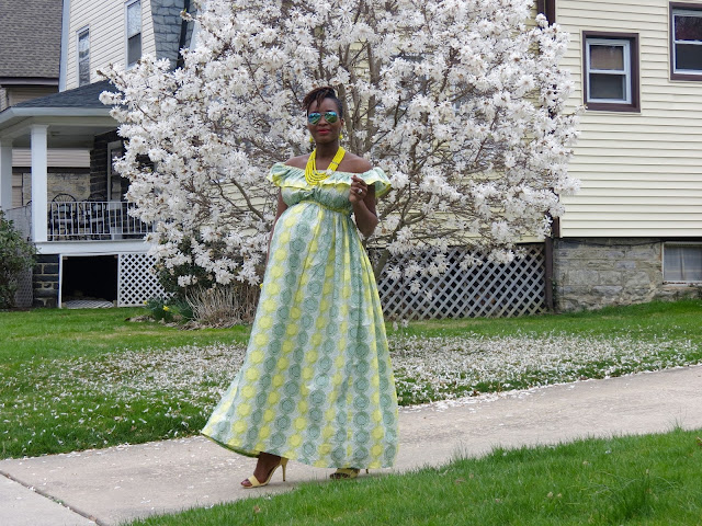 DIY Maternity Style, Style The Bump, Off shoulder Ankara Dress
