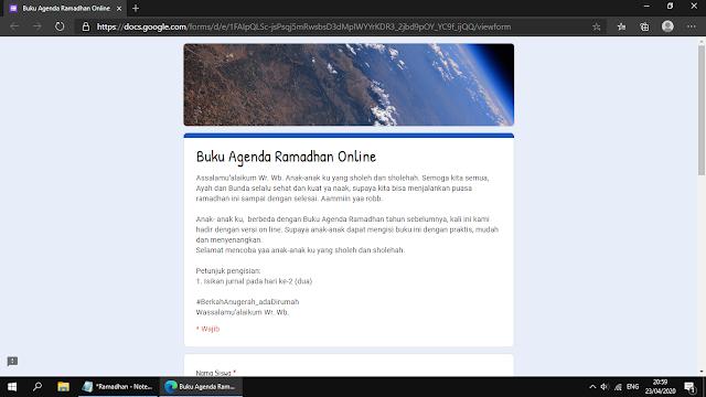 Aplikasi Agenda Kegiatan Ramadhan Online Google Form
