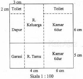 Denah rumah Azizah, skala 1 : 100, luas sebenarnya