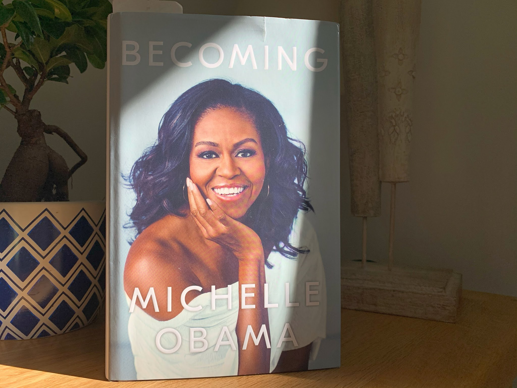 Becoming by Michelle Obama on a shelf