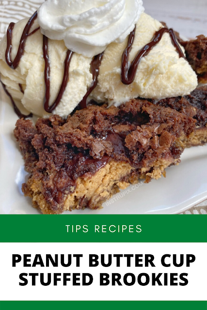 ✓ Peanut Butter Cup Stuffed Brookies