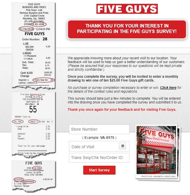 five guys survey sweepstakes