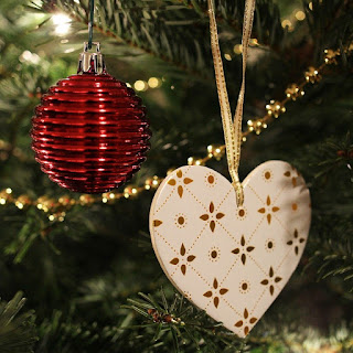 Heart and bauble decorations on a real Christmas Tree