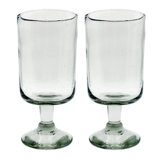water or wine glass made of recycled glass