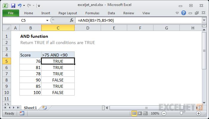صيغ الدالة AND واستخدامها في برنامج Microsoft Excel