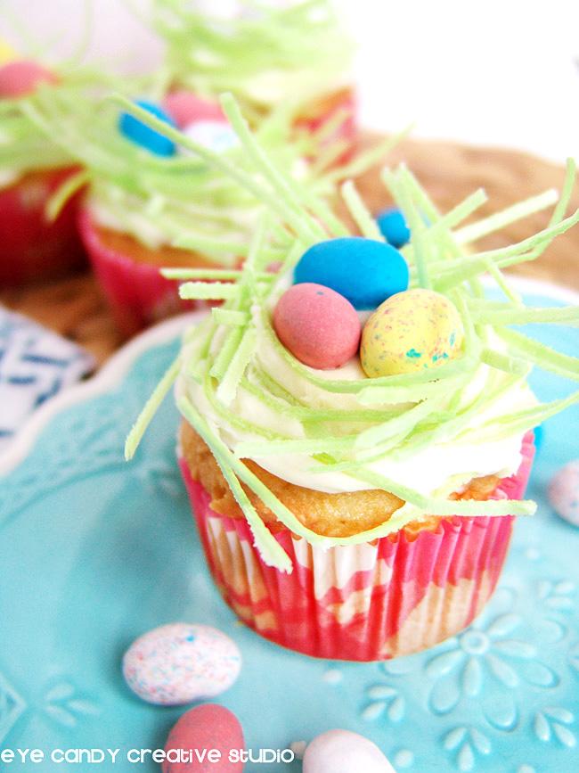 edible easter grass, cupcakes for easter, robin eggs, cupcakes ideas