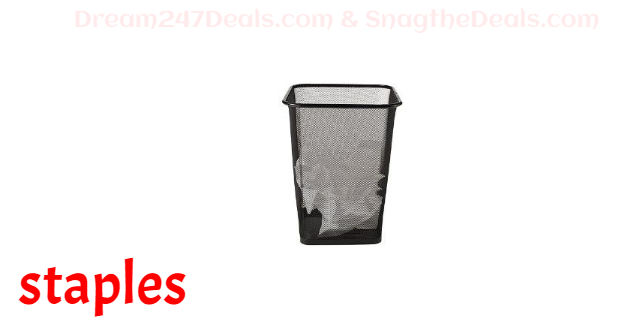 Staples Indoor Trash Can w/ no Lid, Epoxy Black Wire Mesh, 4.4 Gal. (BPR24514)