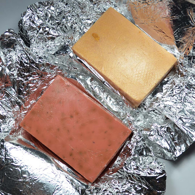 soap bars on top of foil packaging