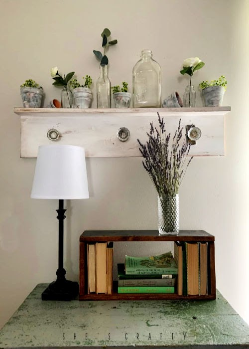 door knob shelf, faux mantel, simple shelf with door knob hangers