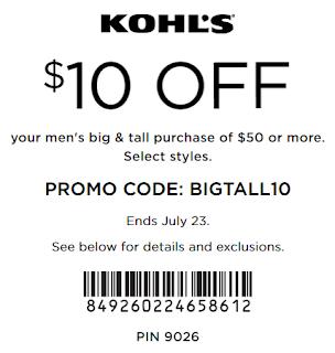 Kohl's coupon $10 off $50 Men's big & tall apparel July 2017