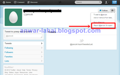Report Spam Akun Twitter