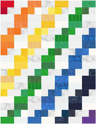 Celilo quilt pattern by QuiltFabrication in a rainbow of colors