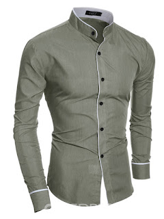 Plain Stand Collar Casual Slim Men's Shirt