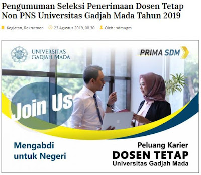 Seleksi Penerimaan Dosen Tetap Non PNS Universitas Gadjah Mada Tahun 2019