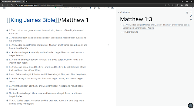Matthew 1:3 block reference in the sidebar