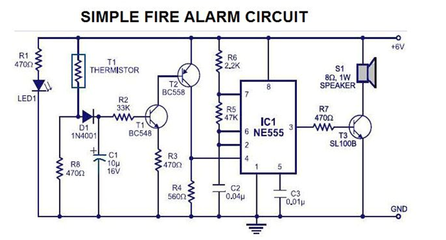 simple fire alarm circuit electrical engineering pics. Black Bedroom Furniture Sets. Home Design Ideas
