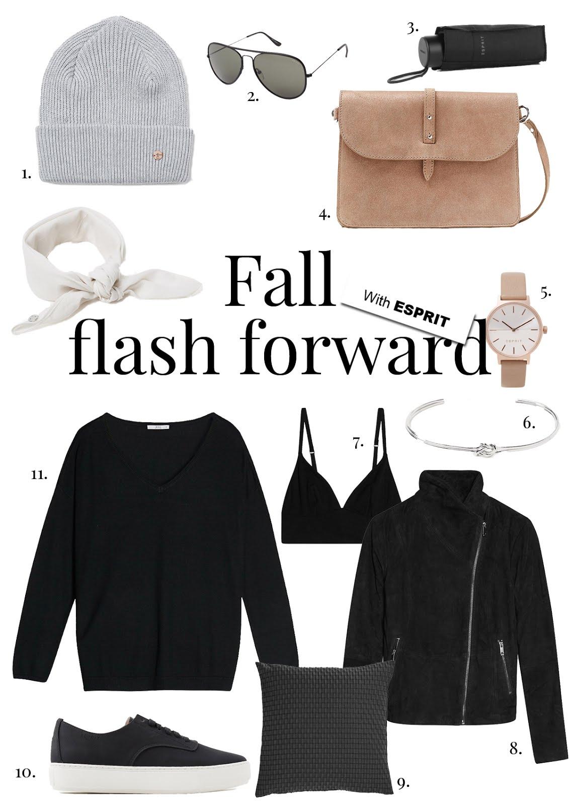 Esprit, shopping, fall 17, FW18, inspiration, knitwear, cosy, shearling jacket, aviator sunglasses, pocket umbrella
