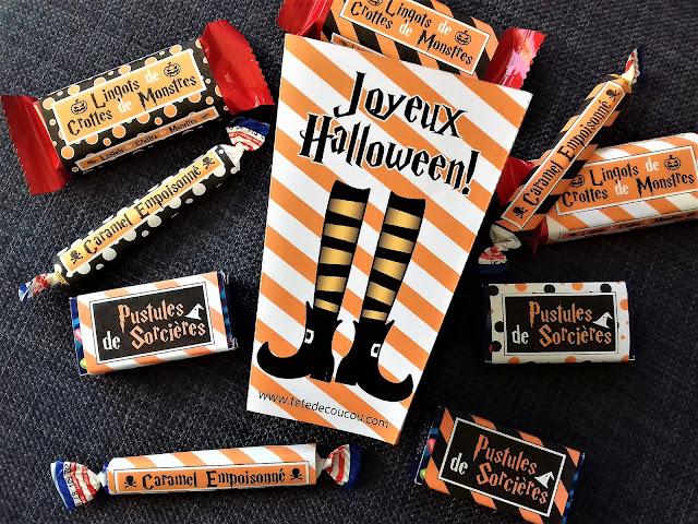 Pack bonbons smarties kit kat carambars Halloween à imprimer printable tête de coucou