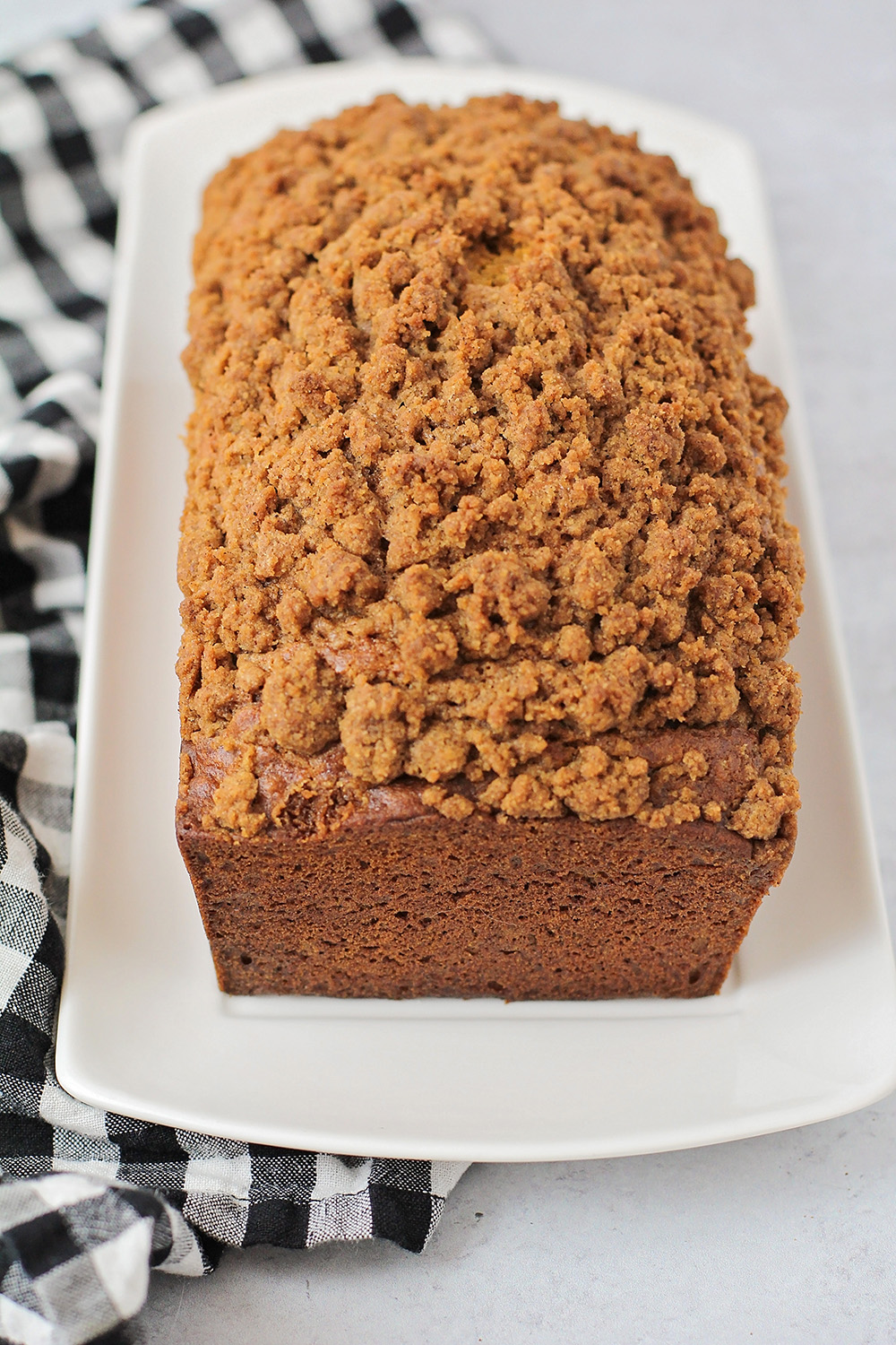 This pumpkin streusel bread is full of delicious fall flavors, and has the perfect moist and tender texture!
