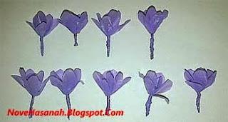 cara membuat bunga lavender dari kantong plastik bekas