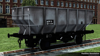 Fastline Simulation. This dia. 1/141 21T coal hopper has seen a little bit of traffic and has gained large HOP 21 branding.