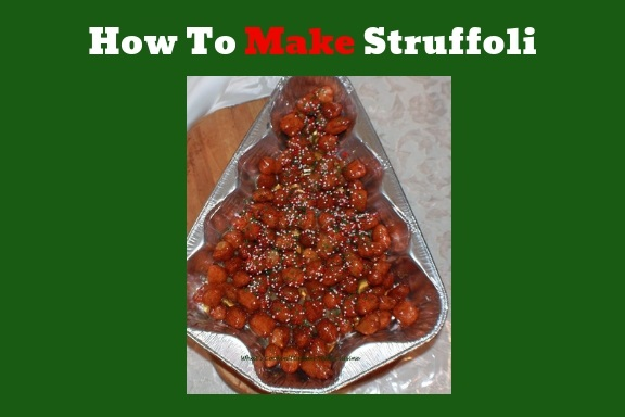 this is how to make struffoli it is just fried dough with drizzled honey and topped with sprinkles