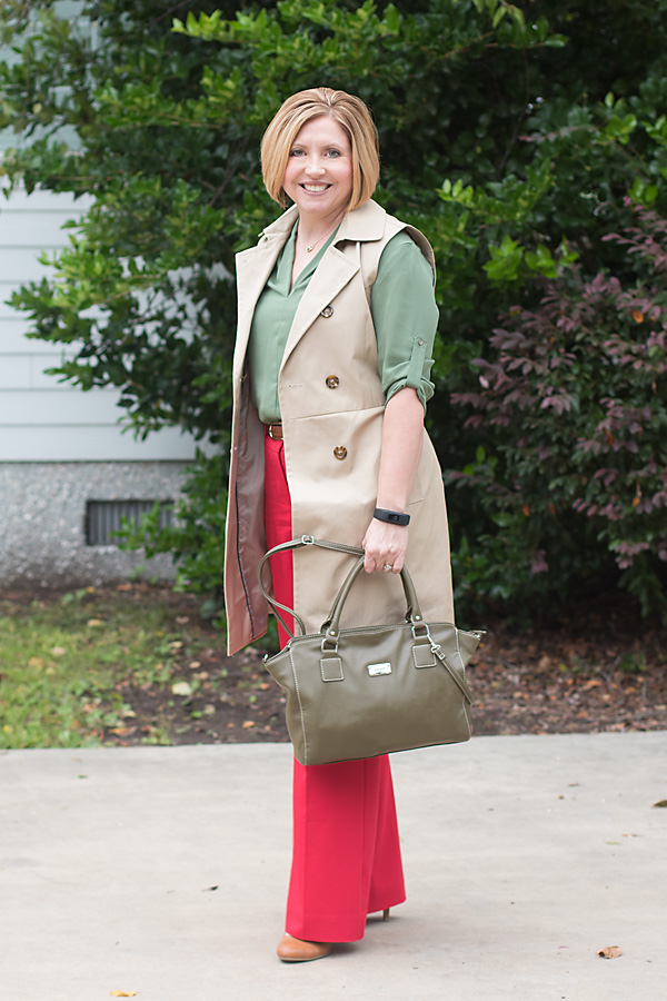 red trousers with trench vest