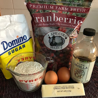 Cranberry tart ingredients: flour, sugar, butter, vanilla, eggs, cranberries