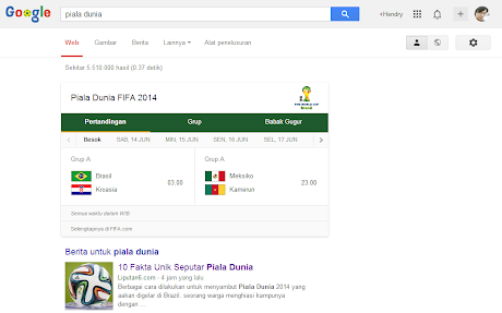 Google Search world cup