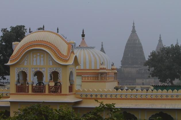 View of the Orchha Chhatris (cenotaphs) from the terrace of Amar Mahal