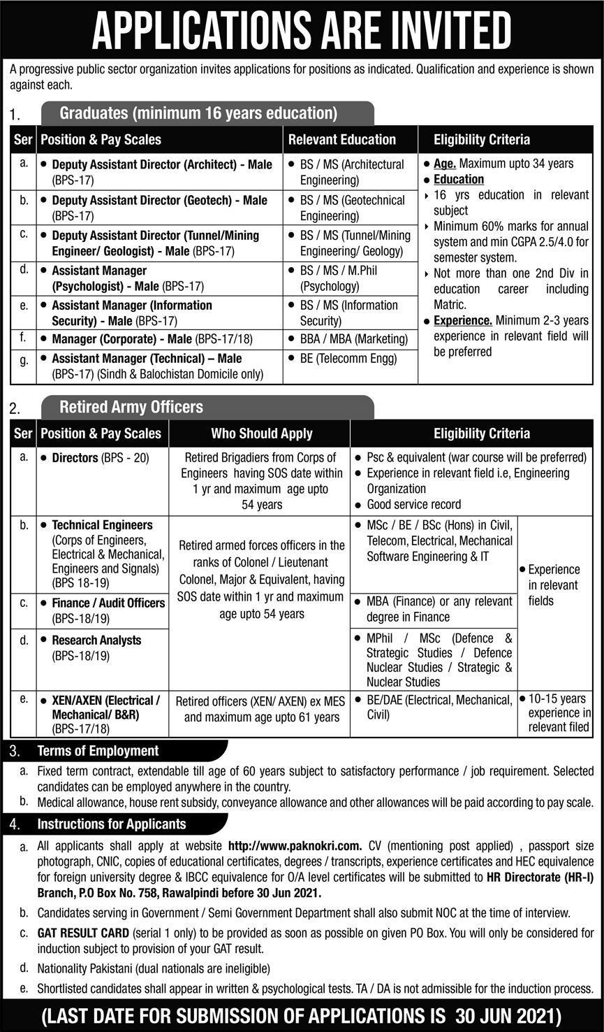 Progressive Public Sector Organization PO Box 758 Rawalpindi Jobs 2021 in Pakistan