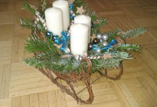 Schlitten Advent Kranz Weihnachten