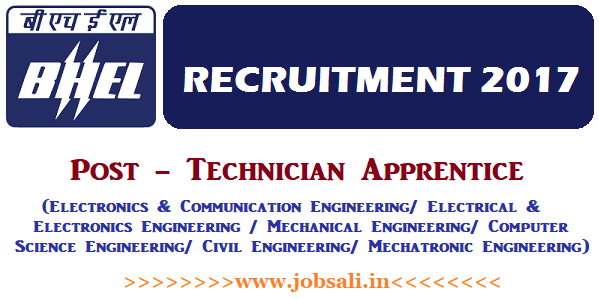 BHEL Careers, BHEL Apprentice Recruitment 2017, BHEL Apprentice Jobs in Bangalore