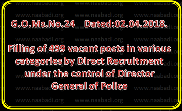 GO 24 - Filling of 499 vacant posts in various categories by Direct Recruitment under the control of Director General of Police Telangana, Hyderabad, through the TSPSC