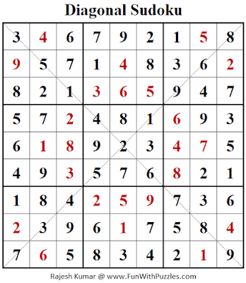 Answer of Diagonal Sudoku Puzzle (Fun With Sudoku #306)