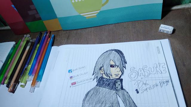 Gambar Sketsa Uchiha Sasuke, Tokoh Anime Terkeren!
